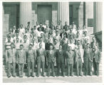 College of Engineering students and faculty on steps of Old Capitol, The University of Iowa, 1950