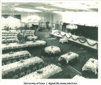 Tables set for Centennial Dinner, Iowa Memorial Union, University of Iowa, February 25, 1947