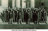 R.O.T.C. Basic cadets on steps of the Old Capitol, The University of Iowa, ca. 1943
