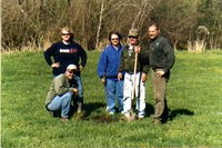 Louisa County SWCD commissioners planting trees at fairgrounds, 2006