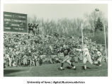 Catch by Iowa football player Jim Gibbons for touchdown against Ohio State, The University of Iowa, November 17, 1956