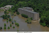Aerial photographs of Mayflower Residence Hall flooding, The University of Iowa, June 16, 2008