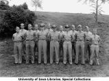 Navy pre-meteorology staff posing on hill, The University of Iowa, 1943