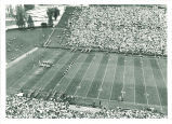 Marching band formation at Iowa vs. Washington football game, The University of Iowa, December 3, 1964