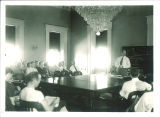 Conference in the old House chamber of Old Capitol, The University of Iowa, Jun. 1937