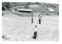 Milton Kettman newly constructed spring fed farm pond, 1965