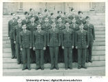 Cadets of the 6th Platoon on the steps of the Old Capitol, The University of Iowa, ca. 1943