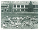 Lumber for construction of addition on the west side of the Iowa Memorial Union, the University of Iowa, 1965
