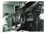 Student operating linograph machine, The University of Iowa, 1955