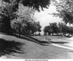 Car on Newton Road near Children's Hospital, The University of Iowa, 1940s