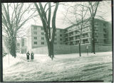 Northeast exterior of Burge Hall in the snow, The University of Iowa, 1960s