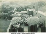 People dining on balcony of Iowa Memorial Union, The University of Iowa, 1930s?