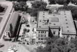 Aerial view of 1st library addition excavation, 1960
