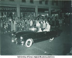 Convertible in Homecoming parade, The University of Iowa, 1940s