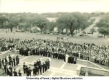 Induction ceremony on west portico of Old Capitol, The University of Iowa, 1920s