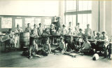Students posed with craft projects for school open house, The University of Iowa, June 1926
