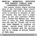 Special memorial services for Ernest Tomlin and Lawrence Pinkerton
