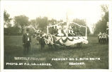 Ruth Smith and class on parade float at Waverly Fair, Waverly, Iowa, 1910