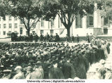 Commencement on the Pentacrest with Old Capitol in foreground and MacLean Hall in background to left, The University of Iowa, June 1926