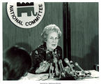 Mary Louise Smith at press conference, Washington, D.C., ca. 1974