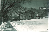 Halsey Hall and Calvin Hall in winter, the University of Iowa, 1920s