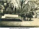 Railroad engineering float in parade, The University of Iowa, 1910s