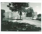 Hillcrest Residence Hall viewed from the west, the University of Iowa, 1960