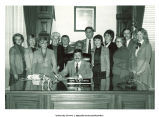 Bill signing with Gov. Terry Branstad, Mary Louise fourth from right, Des Moines, Iowa, 1983