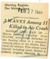 3 WAVES among  11 killed in air crash