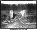 Interurban road cut construction, Iowa City, Iowa, 1920s