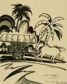 Water buffalo and cart, Bandoeng