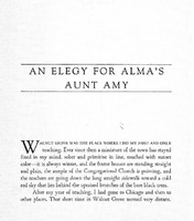 An Elegy for Alma's Aunt Amy