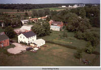 Aerial view Homestead looking north west 2, Homestead, Iowa, Aug. 23, 1989