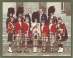 Members of Scottish Highlanders governing board with drum major Kathy Monahan front row center, The University of Iowa, 1969