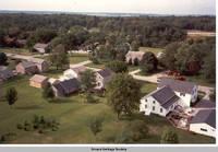 Aerial view Homestead looking north west 2, Homestead, Iowa, Aug. 23, 1989