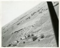 1948 - Field Day Aerial View Looking Northwest from Plon Oberman's Farm over Kenneth Redfern's Farm where cars are parked