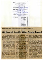 Ray McDowell family wins state award.