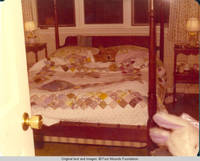 View of bedroom, with Victoria, the corgy in bed