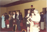 Guests mingling at Scottish Highlander banquet, The University of Iowa, May 1978
