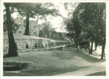 Path and rustic walkway leading to Quadrangle Hall, the University of Iowa, 1930s