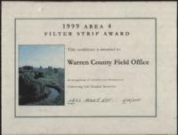 Filter Strip Award [Certificate Area 4] to the Warren County Field Office.