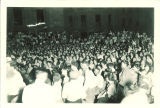 Crowd on Pentacrest for outdoor presentation of Comedy of errors, The University of Iowa, 1930s?