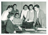 Journalism students at Anamosa eureka office, Anamosa, Iowa, 1950s