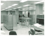 Patrons using the card catalog at Main Library, the University of Iowa, April 1963
