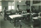 Weaving in a home economics class, The University of Iowa, 1920s