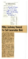 Milton Jordening honored for soil conservation work.