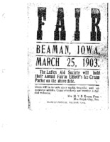 Advertising flier for a Fair held by Beaman Ladies Aid Society, March 25, 1903