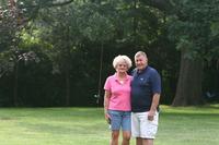 Unidentified couple with windbreak background