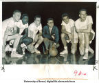Iowa basketball players with coach Bucky O'Connor, The University of Iowa, March 21, 1956