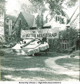 Phi Delta Theta fraternity house decorated for Homecoming, The University of Iowa, 1940s